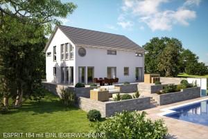 Bild: ES 184 mit Einliegerwohnung Bauweise: Fertighaus, industrielle Vorfertigung Bauart: Holzhaus, Fachwerk