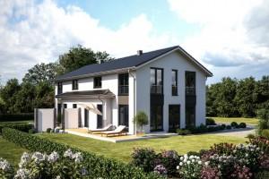 Bild: DUO 141 Bauweise: Fertighaus, industrielle Vorfertigung Bauart: Holzhaus, Fachwerk