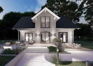Bild: Satteldach Haus Heimborn 80-010 Bauweise: Bau vor Ort, traditioneller Hausbau Bauart: Massivhaus, Porenbetonsteine