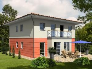 """Bild: Einfamilienhaus """"Stadtvilla 145"""" Bauweise: Fertighaus, industrielle Vorfertigung Bauart: Holzhaus, Holztafelbau"""