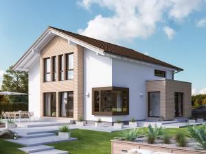 Bild: EVOLUTION 164 V4 Bauweise: Fertighaus, industrielle Vorfertigung Bauart: Holzhaus, Holztafelbau
