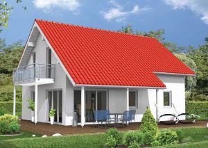 Bild: Das Familienhaus Bauweise: Fertighaus, industrielle Vorfertigung Bauart: Holzhaus, Holztafelbau