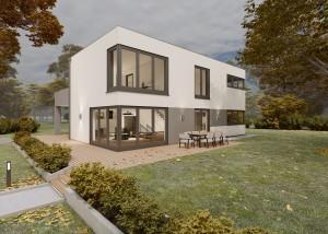 Bild: Bauhaus Niedersayn 10-010 Bauweise: Bau vor Ort, traditioneller Hausbau Bauart: Massivhaus, Porenbetonsteine