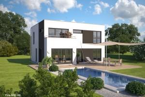 Bild: FA 148 Bauweise: Fertighaus, industrielle Vorfertigung Bauart: Holzhaus, Fachwerk