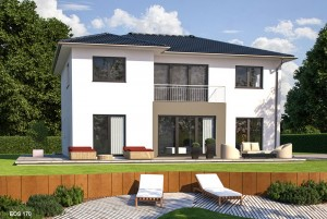 Bild: EOS 170 Bauweise: Fertighaus, industrielle Vorfertigung Bauart: Holzhaus, Fachwerk