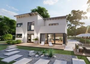 Bild: Pultdach Haus Hirz-Maulsbach 30-040 Bauweise: Bau vor Ort, traditioneller Hausbau Bauart: Massivhaus, Porenbetonsteine