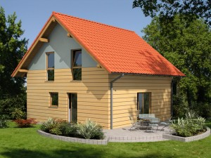 """Bild: Einfamilienhaus mit Satteldach """"Classic 100"""" Bauweise: Fertighaus, industrielle Vorfertigung Bauart: Holzhaus, Holztafelbau"""
