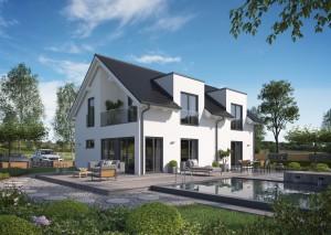 Bild: Solitaire-E-155 E1 Bauweise: Fertighaus, industrielle Vorfertigung Bauart: Holzhaus, Holztafelbau