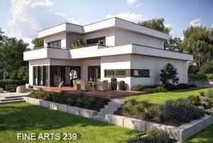 Bild: FA 239 mit Garage Bauweise: Fertighaus, industrielle Vorfertigung Bauart: Holzhaus, Fachwerk