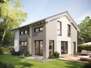 Bild: SUNSHINE 136 V4 Bauweise: Fertighaus, industrielle Vorfertigung Bauart: Holzhaus, Holztafelbau