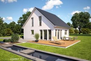 Bild: ES 112 Bauweise: Fertighaus, industrielle Vorfertigung Bauart: Holzhaus, Fachwerk