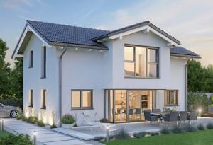Bild: NORGES HUS 164 - Bausatz ab 108.400.-- €... Bauweise: Fertighaus, industrielle Vorfertigung Bauart: Holzhaus, Holzständerwerk