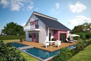 Bild: ES 125 Bauweise: Fertighaus, industrielle Vorfertigung Bauart: Holzhaus, Fachwerk