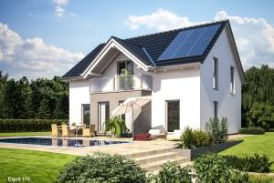 Bild: ES 176 Bauweise: Fertighaus, industrielle Vorfertigung Bauart: Holzhaus, Fachwerk