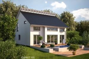 Bild: ES 155 mit Erker Bauweise: Fertighaus, industrielle Vorfertigung Bauart: Holzhaus, Fachwerk