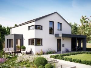 Bild: SUNSHINE 143 V5 Bauweise: Fertighaus, industrielle Vorfertigung Bauart: Holzhaus, Holztafelbau