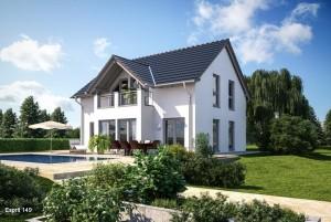 Bild: ES 149 mit Erker und Balkon Bauweise: Fertighaus, industrielle Vorfertigung Bauart: Holzhaus, Fachwerk