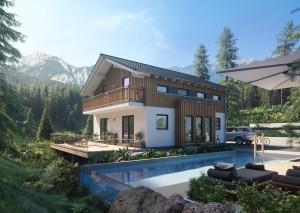 Bild: Sensation-E-133 E4 Bauweise: Fertighaus, industrielle Vorfertigung Bauart: Holzhaus, Holztafelbau