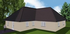 Bild: Winkelbungalow Var. 1 Bauweise: Bau vor Ort, traditioneller Hausbau Bauart: Massivhaus, Porenbetonsteine