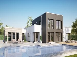 Bild: AMBIENCE 100 V5 Bauweise: Fertighaus, industrielle Vorfertigung Bauart: Holzhaus, Holztafelbau
