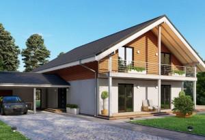 Bild: NORGES HUS 215 - Bausatz ab 111.300.-- €... Bauweise: Fertighaus, industrielle Vorfertigung Bauart: Holzhaus, Holzständerwerk