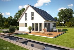 Bild: ES 126 Bauweise: Fertighaus, industrielle Vorfertigung Bauart: Holzhaus, Fachwerk