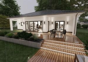 Bild: Bungalow Nauort 20-018 Bauweise: Fertighaus, industrielle Vorfertigung Bauart: Massivhaus, Ziegelsteine