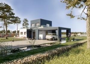 Bild: Solitaire-B-090 E5 Bauweise: Fertighaus, industrielle Vorfertigung Bauart: Holzhaus, Holztafelbau