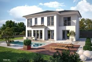 Bild: EOS 161 mit Garage im Haus Bauweise: Fertighaus, industrielle Vorfertigung Bauart: Holzhaus, Fachwerk