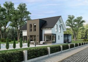 Bild: Sensation-E-132 E3 Bauweise: Fertighaus, industrielle Vorfertigung Bauart: Holzhaus, Holztafelbau