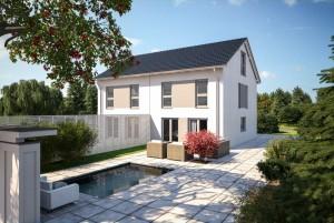 Bild: DUO 148 Bauweise: Fertighaus, industrielle Vorfertigung Bauart: Holzhaus, Fachwerk
