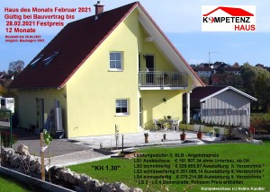 "Haus des Monats Februar 2021 - ""KH 1.30""  - Preisgarantie bis Februar 2022"