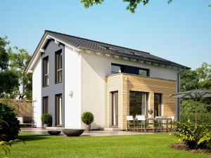 Bild: SUNSHINE 113 V5 Bauweise: Fertighaus, industrielle Vorfertigung Bauart: Holzhaus, Holztafelbau