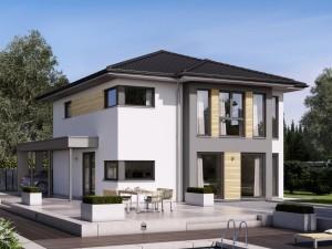 Bild: SUNSHINE 151 V6 Bauweise: Fertighaus, industrielle Vorfertigung Bauart: Holzhaus, Holztafelbau