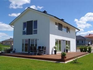 Bild: Sognefjord Bauweise: Bau vor Ort, traditioneller Hausbau Bauart: Holzhaus, Holzständerwerk