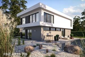 Bild: FA 209 mit Garage & Dachterrasse Bauweise: Fertighaus, industrielle Vorfertigung Bauart: Holzhaus, Fachwerk