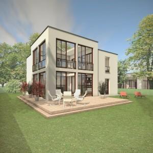 Bild: Das Atriumhaus ATR07-H02 Bauweise: Bau vor Ort, traditioneller Hausbau Bauart: Massivhaus, Porenbetonsteine