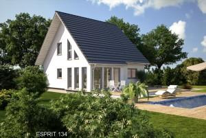 Bild: ES 134 Bauweise: Fertighaus, industrielle Vorfertigung Bauart: Holzhaus, Fachwerk
