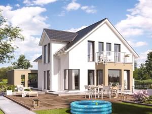 Bild: SUNSHINE 144 V3 Bauweise: Fertighaus, industrielle Vorfertigung Bauart: Holzhaus, Holztafelbau