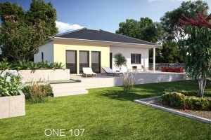 Bild: ONE 107 Bauweise: Fertighaus, industrielle Vorfertigung Bauart: Holzhaus, Fachwerk