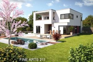 Bild: FA 211 mit Garage Bauweise: Fertighaus, industrielle Vorfertigung Bauart: Holzhaus, Fachwerk