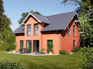 """Bild: Einfamilienhaus mit Zwerchgiebel """"Classic 125"""" Bauweise: Fertighaus, industrielle Vorfertigung Bauart: Holzhaus, Holztafelbau"""