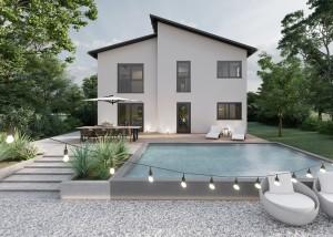 Bild: Pultdach Haus Muscheid 30-045 Bauweise: Bau vor Ort, traditioneller Hausbau Bauart: Massivhaus, Porenbetonsteine