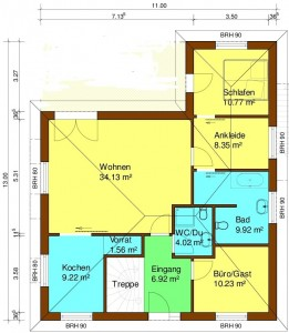 Bild: Bungalow mit Keller Bauweise: Bau vor Ort, traditioneller Hausbau Bauart: Massivhaus, Porenbetonsteine