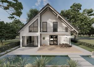 Bild: Satteldach Haus Hartenfels 70-033 Bauweise: Fertighaus, industrielle Vorfertigung Bauart: Massivhaus, Ziegelsteine