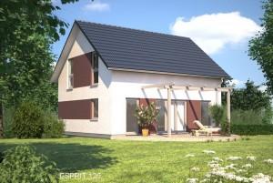 Bild: ES 120 Bauweise: Fertighaus, industrielle Vorfertigung Bauart: Holzhaus, Fachwerk
