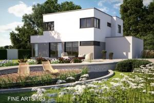 Bild: FA 163 mit Garage im Haus Bauweise: Fertighaus, industrielle Vorfertigung Bauart: Holzhaus, Fachwerk