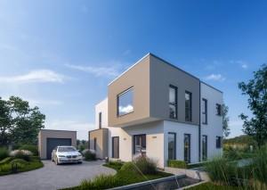 Bild: Solitaire-E-155 E9 Bauweise: Fertighaus, industrielle Vorfertigung Bauart: Holzhaus, Holztafelbau