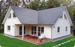 Bild: A5 Winkelhaus Bauweise: Fertighaus, industrielle Vorfertigung Bauart: Holzhaus, Fachwerk