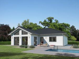 Bild: Bungalow K6 Bauweise: Fertighaus, industrielle Vorfertigung Bauart: Holzhaus, Fachwerk